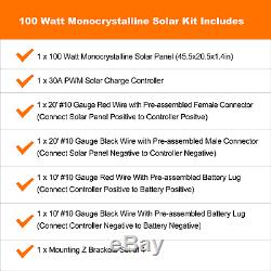 100 Watt 12 Volts Mono Solar Kit with 30Amp PWM Charge Controller
