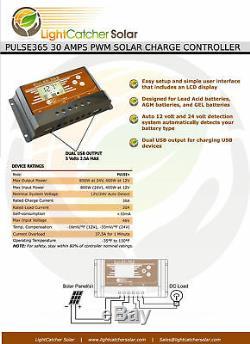 100 Watt Mono Solar Panel Kit with Charge Controller 100W 12V RV Off Grid German
