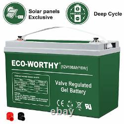 100W 200W Watt 12V Solar Panel Kit Off Grid Inverter 100AH Deep Cycle Battery