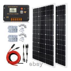 100W 200W Watt Solar Panel Kit 12Volt Battery Charge Controller RV Caravan Boat