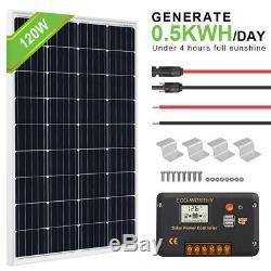 120W Watt Mono Solar Panel Starter Kit 20A LCD Controller Battery Charger For RV