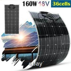 160Watt Solar Panel flexible Photovoltaic Home Roof boat Car 18V battery Charger