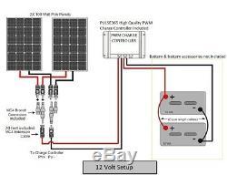 200 Watt 12 Volt Battery Charging Solar Panel Kit 12V 200W RV Boat Off Grid NEW