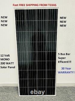 200 Watt 12 Volt Mono Solar Panel 200w 12V Off Grid RV Marine Battery Charging