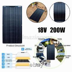 200 Watt Flexible Solar Panel Cell Module Kit For 12V/24V RV Camping Waterproof