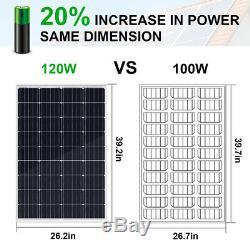 200W 240W Watt 12Volt 2-120W Solar Panel Kit Battery Charge For RV Trailer Home