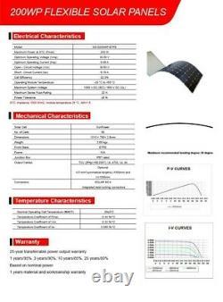 200W Single Solar Panel-Flexible-Lightweight-SunPower Cells-ETFE-Watt-Watts