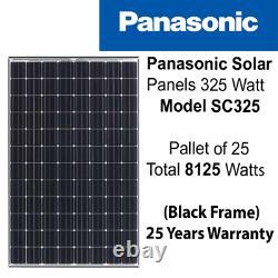 325 Watt Panasonic Solar Panels -Pallet Of 25 -Solar city- SC325 -Power 8.25 kW