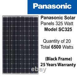 325 Watt Panasonic Solar Panels -Quantity Of 20 Solar city-SC325- Power 6.5 KW