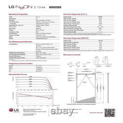 375W LG Solar Panels -Model LG375N2W-G4. Quantity of 4-Total Power 1500 Watts