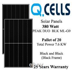 380 Watt Q CELL Solar Panels Q CELLS Q. PEAK DUO BLK ML-G9 Pallet of 20