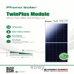 400 W Phono Solar-PS400M1H-24/TH-Pallet of 10 Total Power 4000 Watts