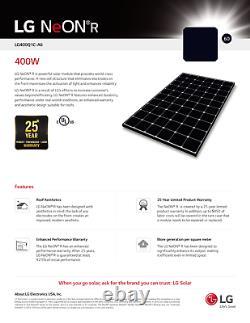 400 Watt LG Solar Panels LG-400Q1C-A6 Pallet of 10 / 4KW LG Neon R Series
