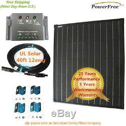COMPLETE KIT Super Black 80w 80 Watt Mono Solar Panel 12v Battery RV Boat