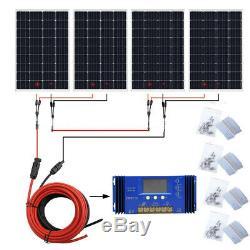 ECO 120W 240W 720W 960W Watt Solar Panel kit 12V/24V Battery Charge Home RV US
