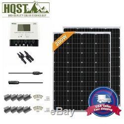 HQST 200 Watt 12V Mono Solar Panel Starter Kit Battery Charger RV Home Off Grid