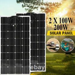 LCD Solar Panel 200 Watts 2pcs 100W Monocrystalline 12/24 Volt RV Boat Off Grid
