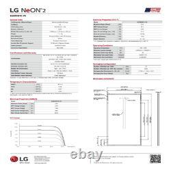 LG Solar Panels 335 Watt- LG335N1C-V5. AUS. Pallet of 10 LG NeON 2 Series