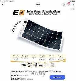 NEW SunPower 100 Watt Mono Solar, Off Grid Power LISTING IS FOR THREE PANELS