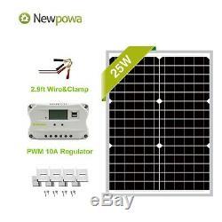NewPowa 25W Watt 12V Mono Solar Panel PWM 10A Charge Controller UM bracket Kit