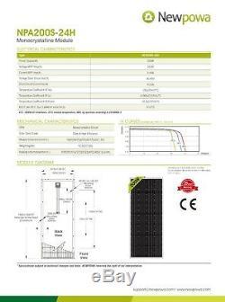 Newpowa 200W Watt 24V Monocrystalline Solar Panel designed for 24V charge System