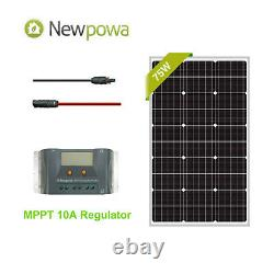 Newpowa 75W Watt 12V Solar Panel +MPPT 10A Charge Controller+6ft Extension Cable