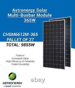 PALLET OF 27-ASTRONERGY- CHSM6612M-365 -SOLAR PANEL-Total 9855Watt