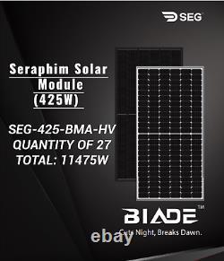 PALLET OF 27-SERAPHIM-SEG-425-BMA-HV-SOLAR PANEL-Total-11475Watt