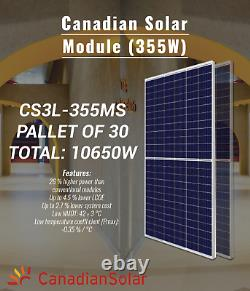 PALLET OF 30-CANADIAN SOLAR PANEL-CS3L-355MS-BEST PERFORMANCE-Total 10650Watts