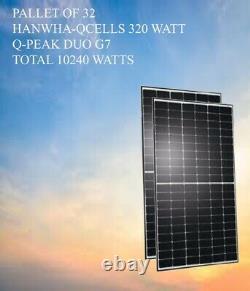 PALLET OF 32- Hanwha Q-Cells 320watts Solar Panels- TOTAL 10240watts