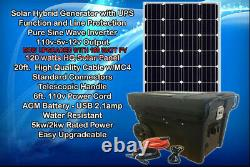 Portable Solar Generator 5000W 2500W Watt 160 Watt Panel Pure Sine AGM/LIFEpO4