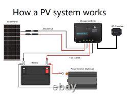 Renogy 100 Watt 100W 12V Solar Panel with Tilt Mount Bracket Flat Roof RV Mounting
