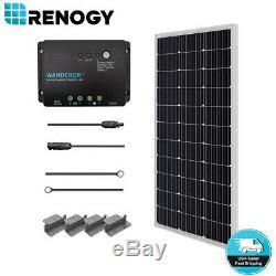 Renogy 100 Watts 12V Monocrystalline Solar Starter Kit 30A PWM Charge Controller