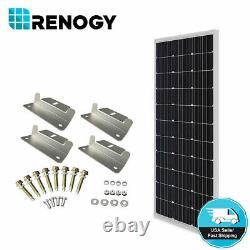 Renogy 100W Watt 12V Solar Panel with Z Bracket Mount Tilt Mount Side Pole Mount
