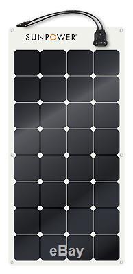SunPower 110 Watt Flexible Solar Panel. High Efficiency for Marine, RV, Camping