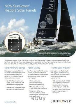 SunPower 170 Watt Flexible Solar Panel. High Efficiency for Marine, RV, Camping