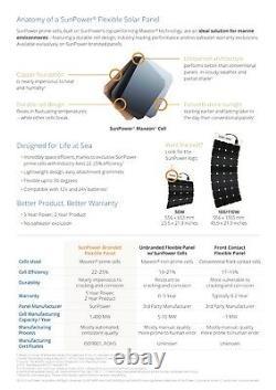 SunPower 50 Watt Flexible Solar Panel. High Efficiency for Marine, RV, Camping