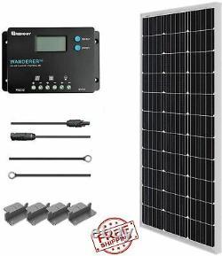 100 Watt 12 Volt Panneau Solaire Monocristallin Chargeur De Panneau De Démarrage Kit De Contrôleur Nouveau
