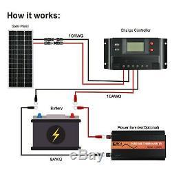 100 Watt 12 Volts Mono Kit Solaire Avec 30amp Pwm Contrôleur De Charge
