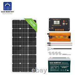 100w 200w Watt 12v Solar Panel Kit Off Grid Onduleur 100ah Deep Cycle Battery