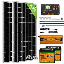 100w 200w Watt Solar Panel Kit 12volt Battery Charge Controller Rv Camper Boat
