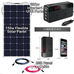 150 Watt Flexible Solar Panel 400w Kit D'onduleur 10awg Solar Panel Cable USA