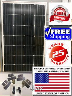2- 210 Watt 12 Volts Chargeur De Batterie Panneau Solaire Off Grid Rv Boat Free Z Bracket