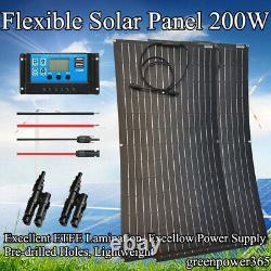 200 Watt Flexible Panneau Solaire Kit Monocristalline 12v Chargeur 20a Contrôleur Voiture