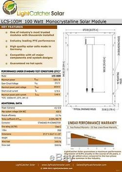 200 Watts Kit Panneau Solaire Mono 30a Contrôleur De Charge Rv Boat Accueil Charge De La Batterie