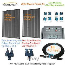 200w 200 Watt 2 100w Solar Panel Plug-n-power Space Flex Kit Pour Batterie 12v