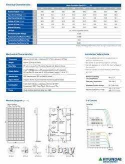 (24 Pièces) Hyundai 360 Watt Monocristallin Panneaux Solaires 72 Cellules