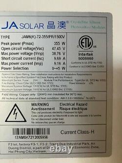 355 Watt Ja Panneau Solaire Jam6(k)-72-355/pr/1500v Livraison Disponible Sous 100mi
