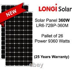 360 Watt Longi Panneaux Solaires-lr6-72bp-360m Palette De 26-total Power 9.36 Kw