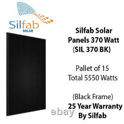 370 Watt Panneaux Solaires Silfab Sil 370 Bk- Palette De 15 Puissance Totale 5,55 Kw